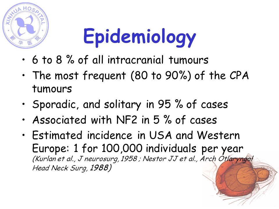 Epidemiology 6 to 8 % of all intracranial tumours The most frequent (80 to 90%) of the CPA tumours Sporadic, and solitary in 95 % of cases Associated with NF2 in 5 % of cases Estimated incidence in USA and Western Europe: 1 for 100,000 individuals per year (Kurlan et al., J neurosurg, 1958 ; Nestor JJ et al., Arch Otlaryngol Head Neck Surg, 1988)