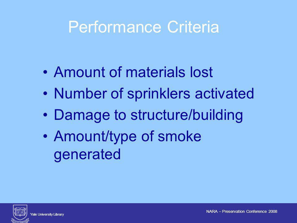 Yale University Library NARA – Preservation Conference 2008 Performance Criteria Amount of materials lost Number of sprinklers activated Damage to structure/building Amount/type of smoke generated