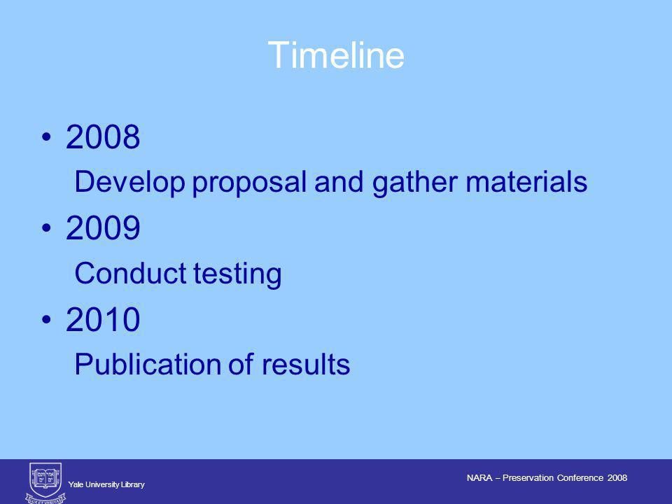 Yale University Library NARA – Preservation Conference 2008 2008 Develop proposal and gather materials 2009 Conduct testing 2010 Publication of results Timeline