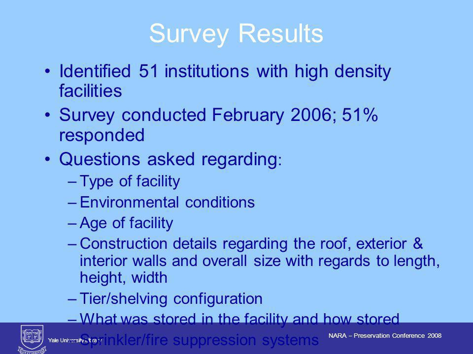 Yale University Library NARA – Preservation Conference 2008 Identified 51 institutions with high density facilities Survey conducted February 2006; 51% responded Questions asked regarding : –Type of facility –Environmental conditions –Age of facility –Construction details regarding the roof, exterior & interior walls and overall size with regards to length, height, width –Tier/shelving configuration –What was stored in the facility and how stored –Sprinkler/fire suppression systems Survey Results