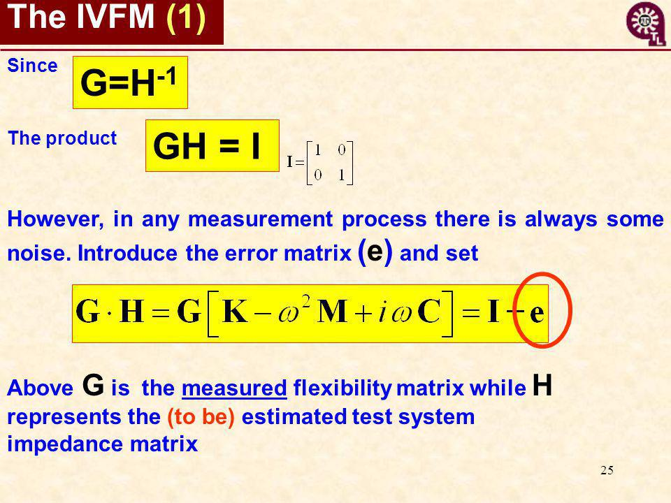 25 The IVFM (1) However, in any measurement process there is always some noise. Introduce the error matrix (e) and set GH = I Since The product G=H -1