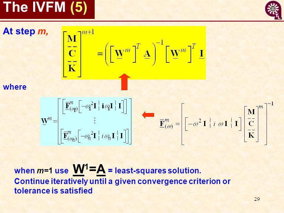 29 The IVFM (5) At step m, where when m=1 use W 1 =A = least-squares solution.