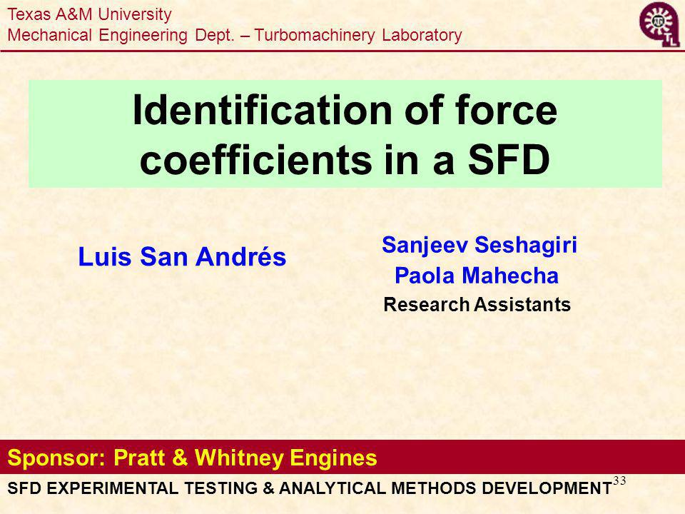 33 Sponsor: Pratt & Whitney Engines Luis San Andrés Sanjeev Seshagiri Paola Mahecha Research Assistants SFD EXPERIMENTAL TESTING & ANALYTICAL METHODS DEVELOPMENT Identification of force coefficients in a SFD Texas A&M University Mechanical Engineering Dept.