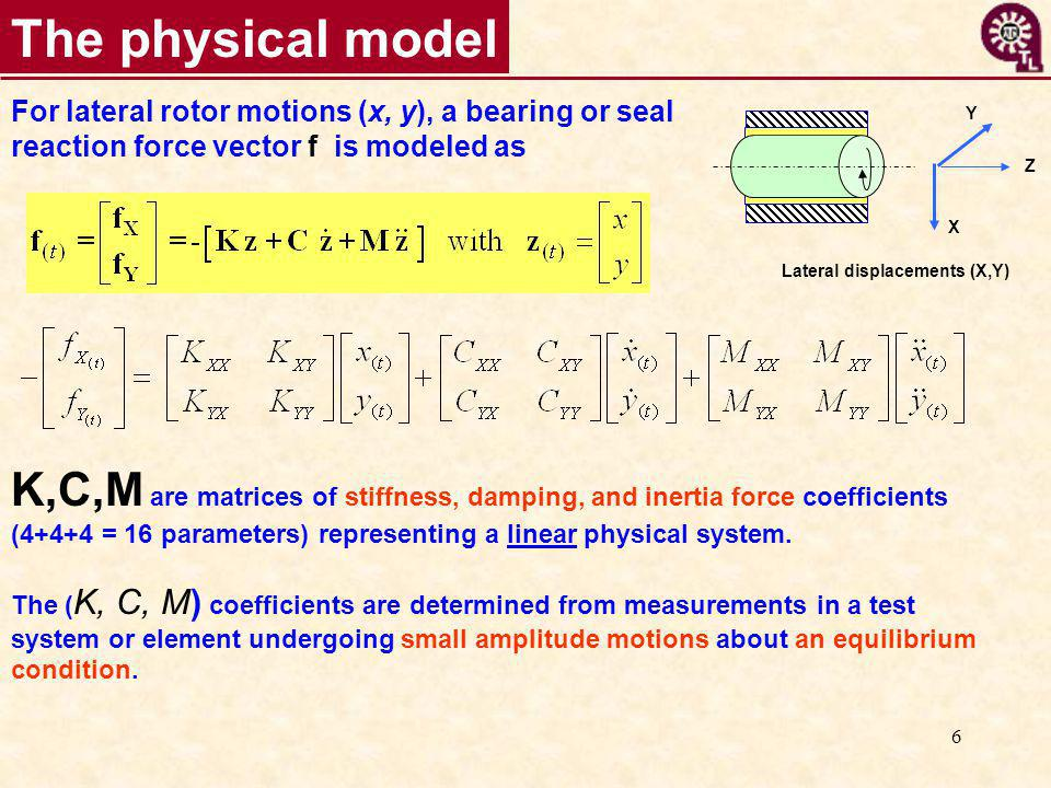 6 The physical model For lateral rotor motions (x, y), a bearing or seal reaction force vector f is modeled as K,C,M are matrices of stiffness, damping, and inertia force coefficients (4+4+4 = 16 parameters) representing a linear physical system.