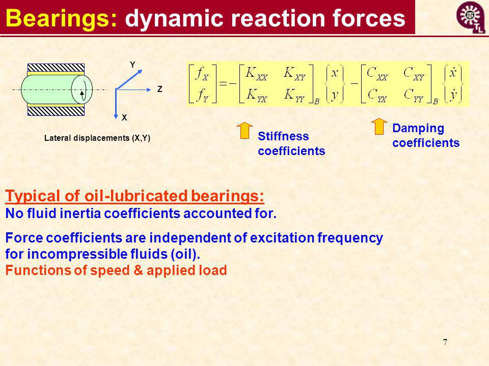 7 Bearings: dynamic reaction forces Stiffness coefficients Damping coefficients Typical of oil-lubricated bearings: No fluid inertia coefficients accounted for.