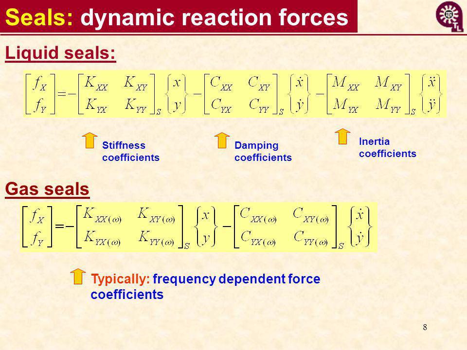8 Liquid seals: Stiffness coefficients Inertia coefficients Damping coefficients Typically: frequency dependent force coefficients Gas seals Seals: dynamic reaction forces