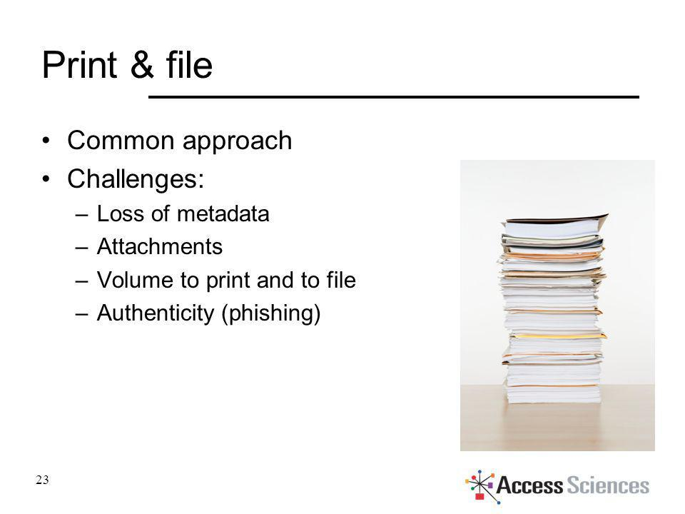 Print & file Common approach Challenges: –Loss of metadata –Attachments –Volume to print and to file –Authenticity (phishing) 23