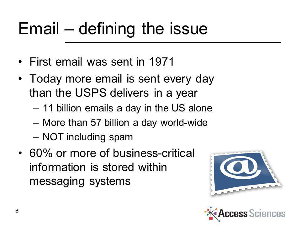 Email – defining the issue First email was sent in 1971 Today more email is sent every day than the USPS delivers in a year –11 billion emails a day i