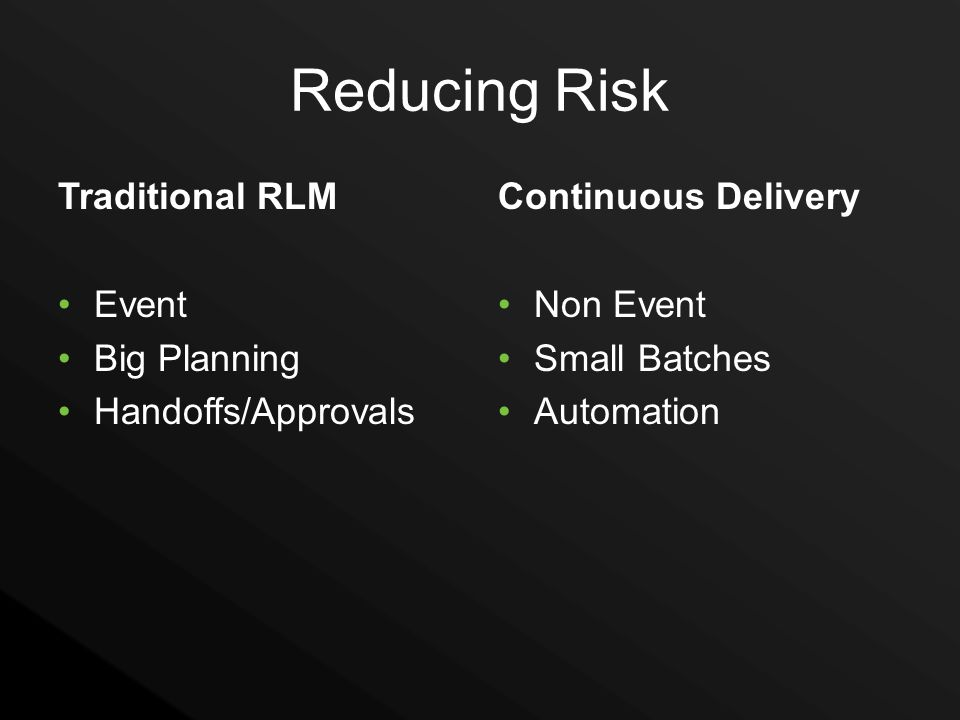 Reducing Risk Traditional RLM Event Big Planning Handoffs/Approvals Continuous Delivery Non Event Small Batches Automation