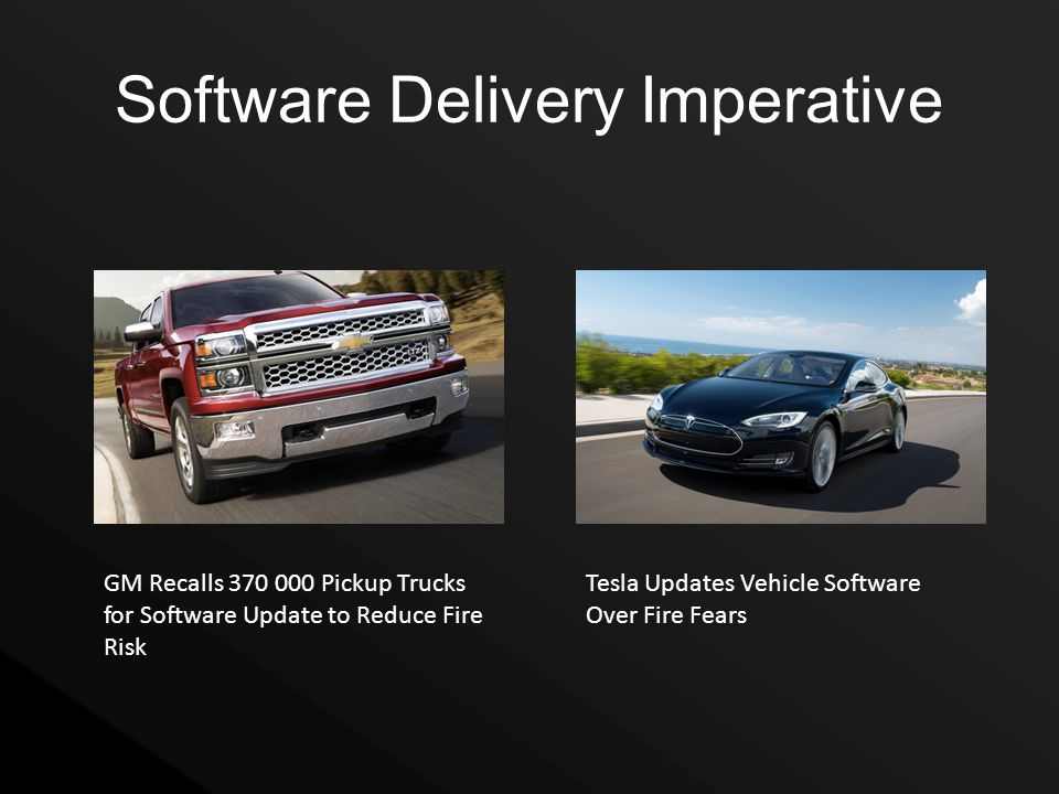 Software Delivery Imperative GM Recalls 370 000 Pickup Trucks for Software Update to Reduce Fire Risk Tesla Updates Vehicle Software Over Fire Fears