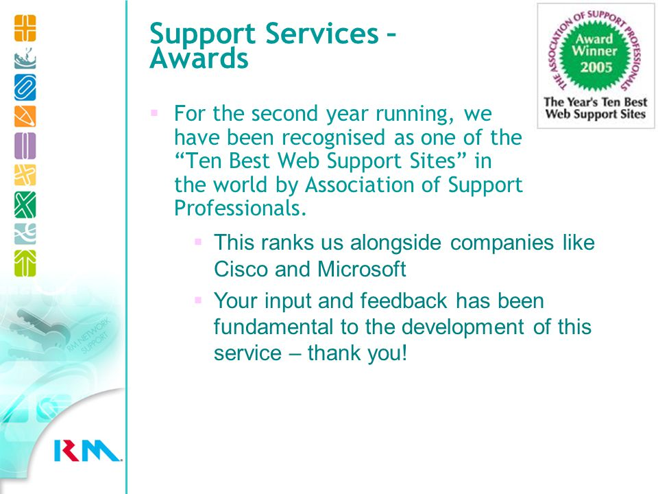 Support Services – Awards For the second year running, we have been recognised as one of the Ten Best Web Support Sites in the world by Association of Support Professionals.