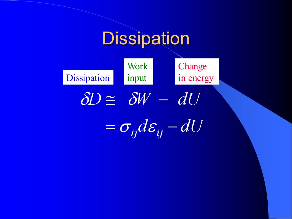Dissipation Dissipation Work input Change in energy