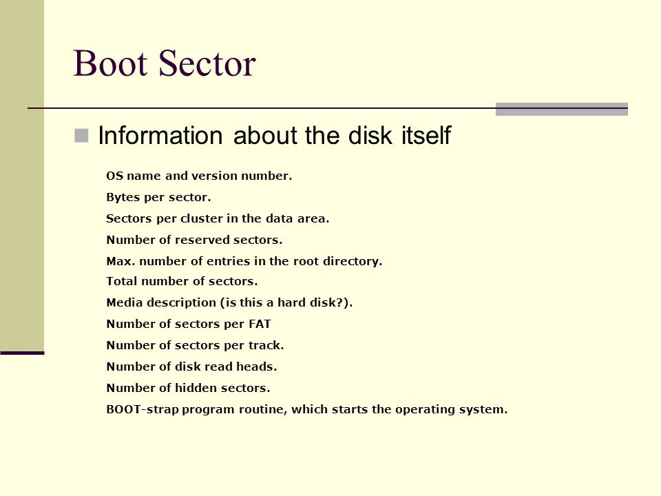 Boot Sector Information about the disk itself OS name and version number.