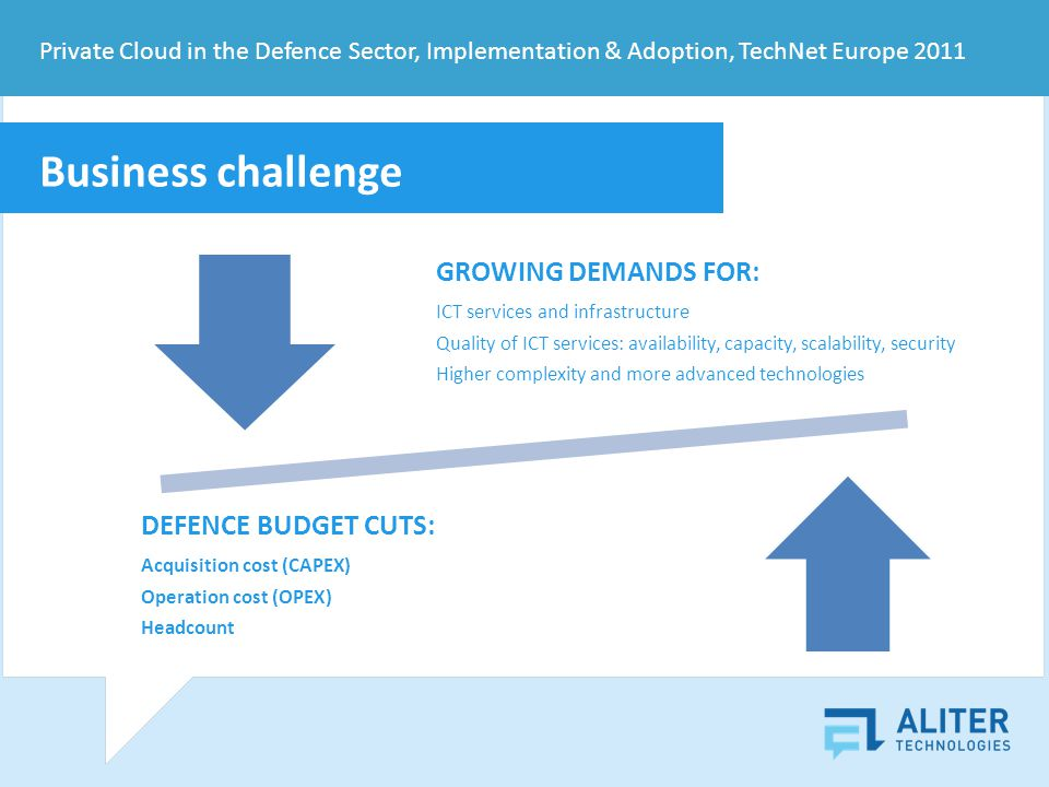 Business challenge GROWING DEMANDS FOR: ICT services and infrastructure Quality of ICT services: availability, capacity, scalability, security Higher complexity and more advanced technologies DEFENCE BUDGET CUTS: Acquisition cost (CAPEX) Operation cost (OPEX) Headcount Private Cloud in the Defence Sector, Implementation & Adoption, TechNet Europe 2011