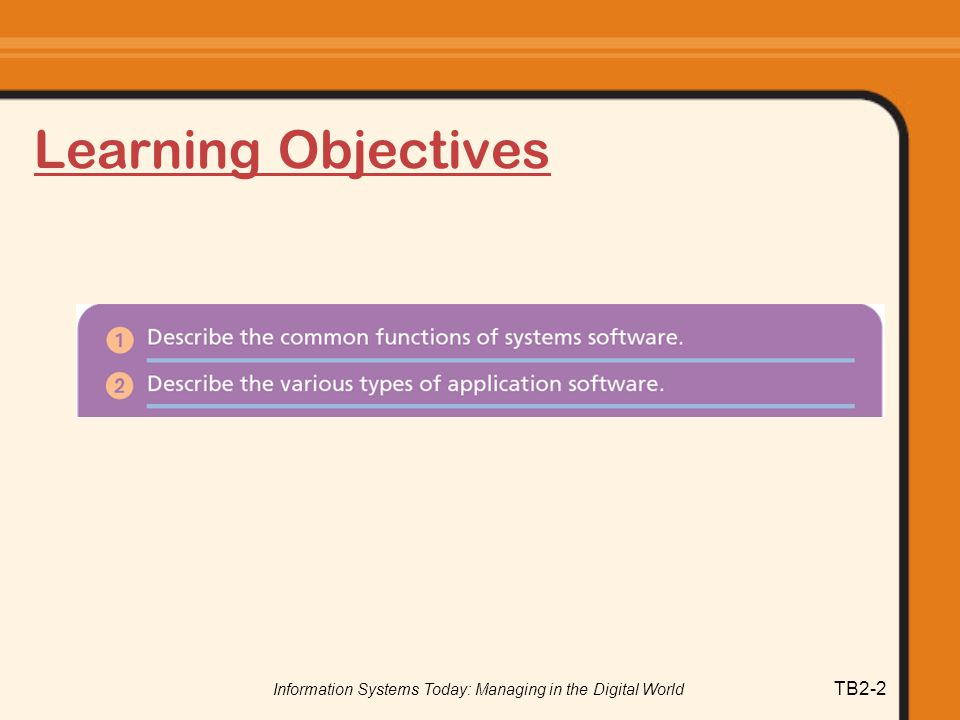 Information Systems Today: Managing in the Digital World TB2-2 Learning Objectives