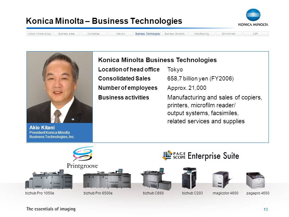 Business areasCompaniesNetworkBusiness TechnologiesKonica Minolta GroupBusiness SolutionsManufacturingEnvironmentCSR 13 Konica Minolta – Business Technologies Konica Minolta Business Technologies Location of head officeTokyo Consolidated Sales658,7 billion yen (FY2006) Number of employeesApprox.