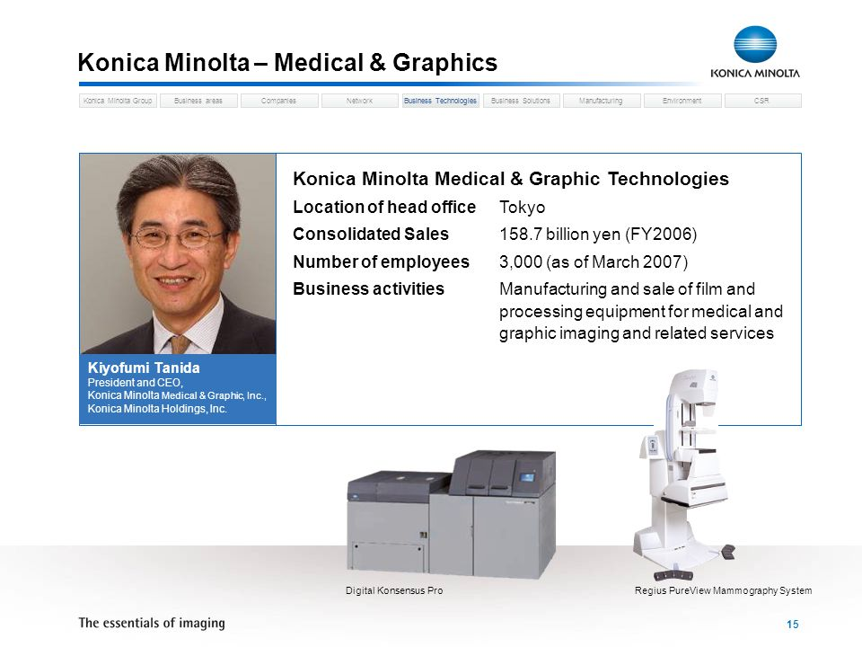 Business areasCompaniesNetworkBusiness TechnologiesKonica Minolta GroupBusiness SolutionsManufacturingEnvironmentCSR 15 Konica Minolta – Medical & Gra