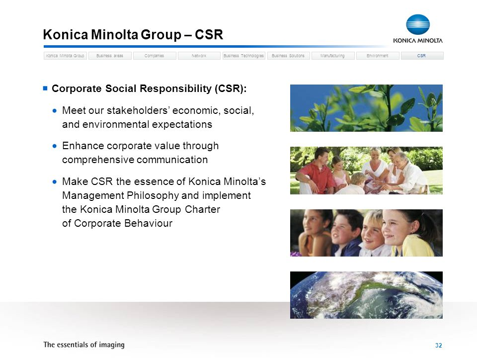Business areasCompaniesNetworkBusiness TechnologiesKonica Minolta GroupBusiness SolutionsManufacturingEnvironmentCSR 32 Konica Minolta Group – CSR Corporate Social Responsibility (CSR): Meet our stakeholders economic, social, and environmental expectations Enhance corporate value through comprehensive communication Make CSR the essence of Konica Minoltas Management Philosophy and implement the Konica Minolta Group Charter of Corporate Behaviour CSR