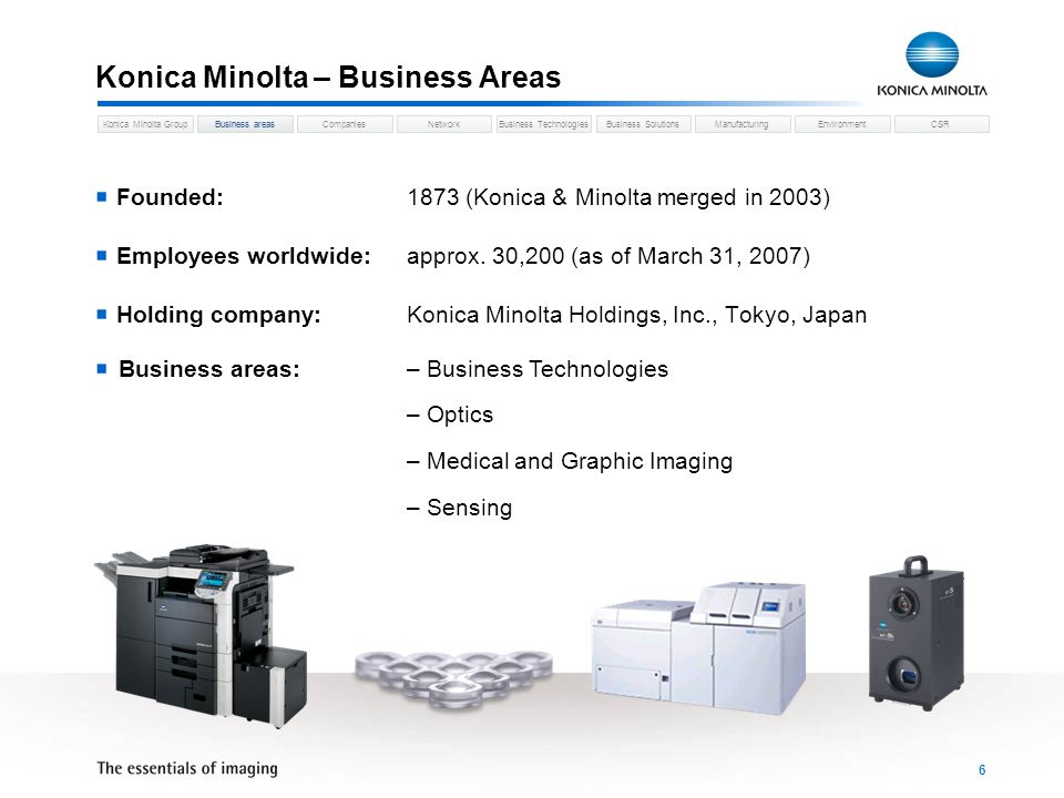 Business areasCompaniesNetworkBusiness TechnologiesKonica Minolta GroupBusiness SolutionsManufacturingEnvironmentCSR 6 Konica Minolta – Business Areas