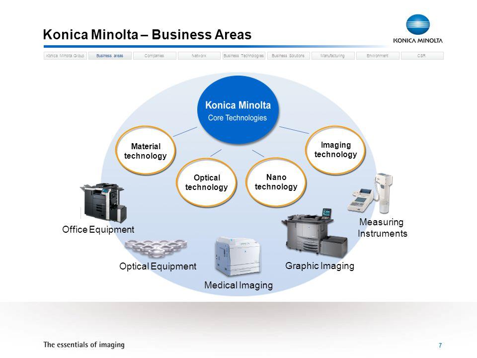 Business areasCompaniesNetworkBusiness TechnologiesKonica Minolta GroupBusiness SolutionsManufacturingEnvironmentCSR 8 Konica Minolta – Companies Konica Minolta Holdings Inc.