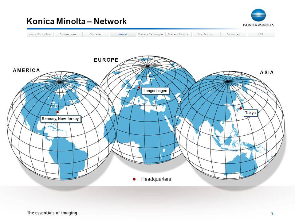 Business areasCompaniesNetworkBusiness TechnologiesKonica Minolta GroupBusiness SolutionsManufacturingEnvironmentCSR 10 Konica Minolta – Group Network Network 31.03.2007 Sales breakdown by region Europe 27,2 % North America 25 % Others 19,9 % Japan 27,9 %