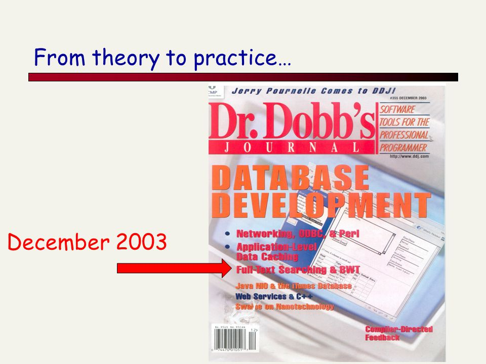 From theory to practice… December 2003