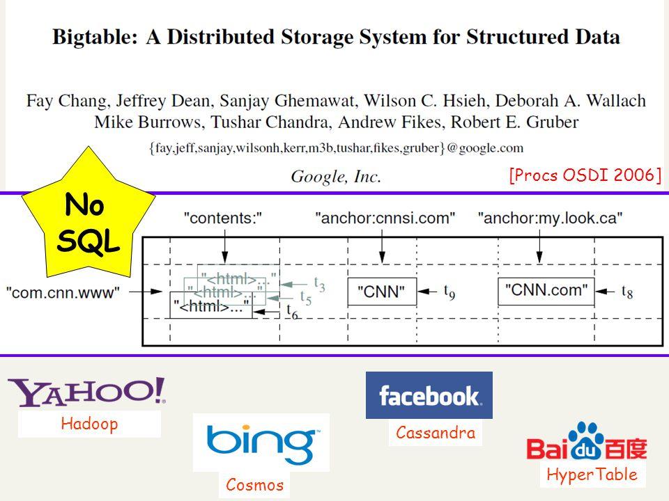 [Procs OSDI 2006] No SQL HyperTable Cassandra Hadoop Cosmos