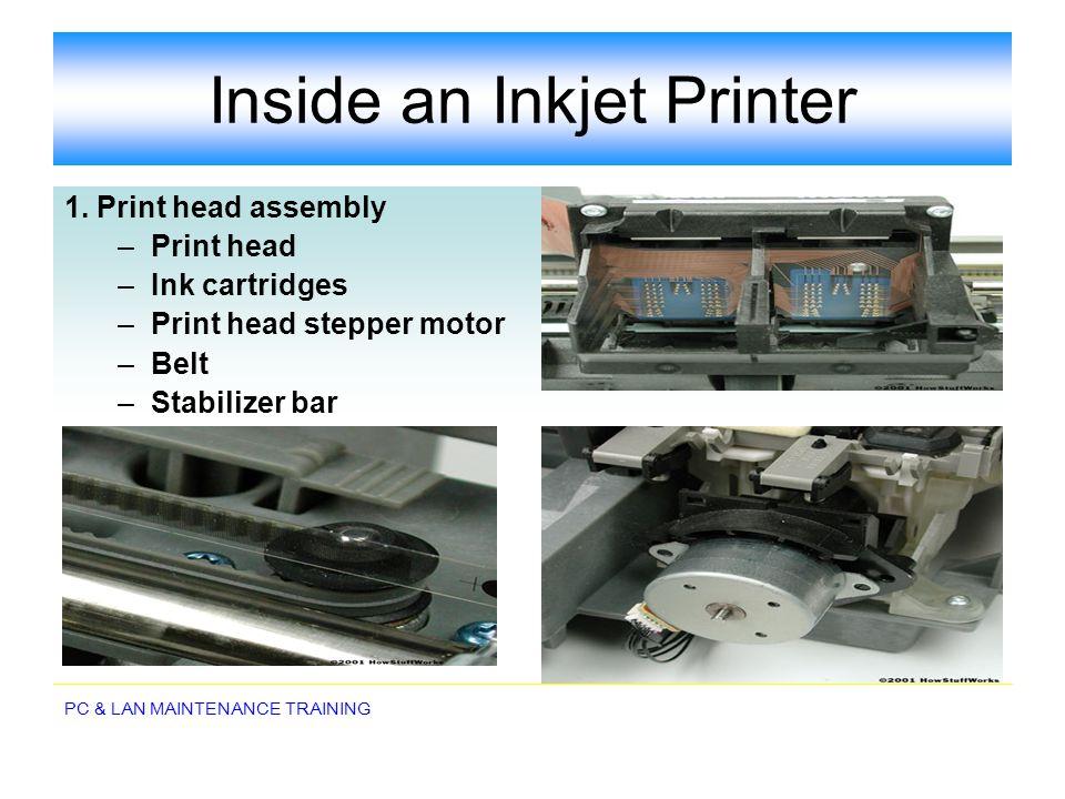 PC & LAN MAINTENANCE TRAINING Inside an Inkjet Printer 1. Print head assembly –Print head –Ink cartridges –Print head stepper motor –Belt –Stabilizer