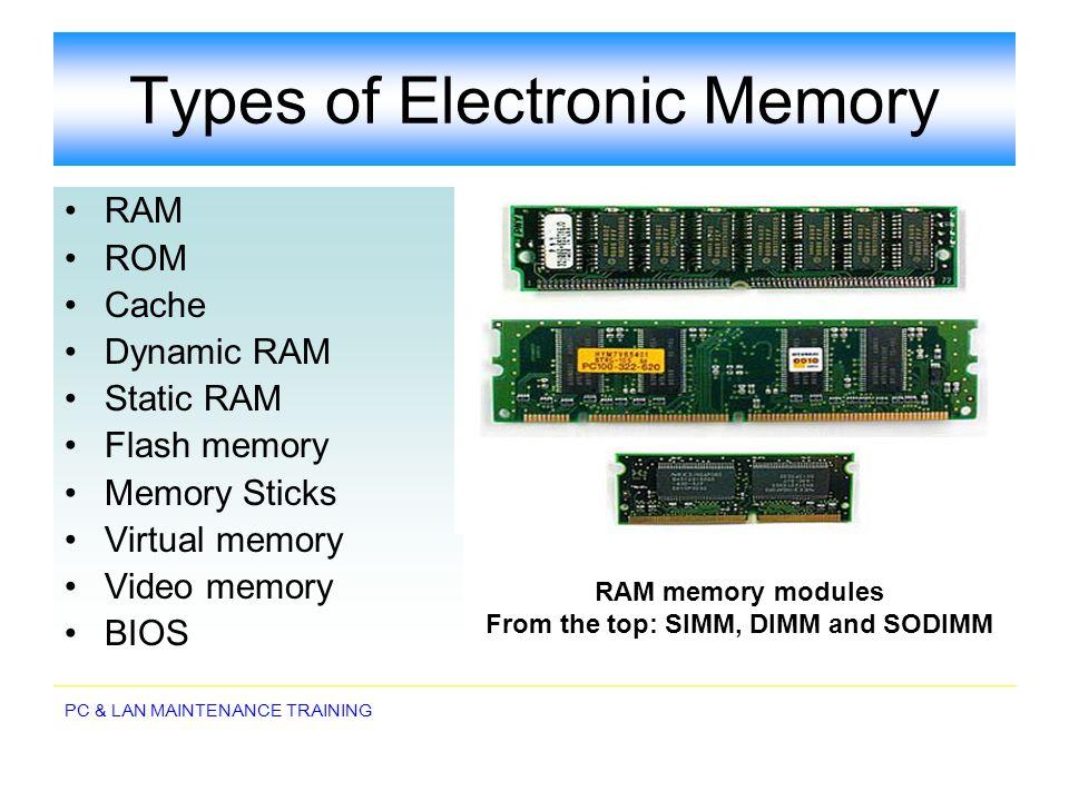 PC & LAN MAINTENANCE TRAINING Types of Electronic Memory RAM ROM Cache Dynamic RAM Static RAM Flash memory Memory Sticks Virtual memory Video memory B