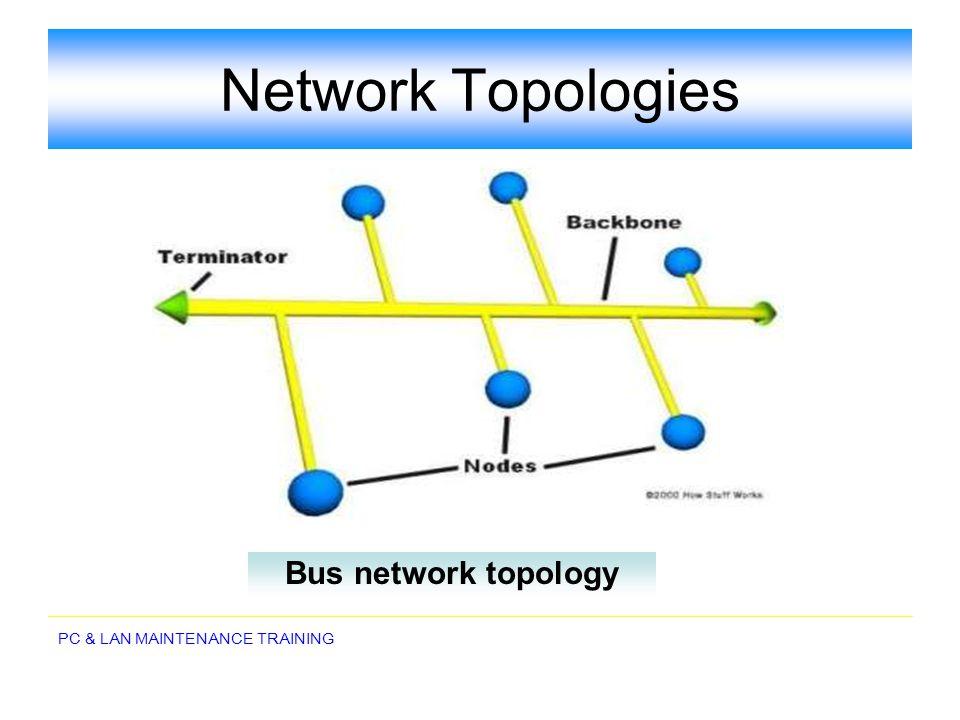 PC & LAN MAINTENANCE TRAINING Network Topologies Bus network topology