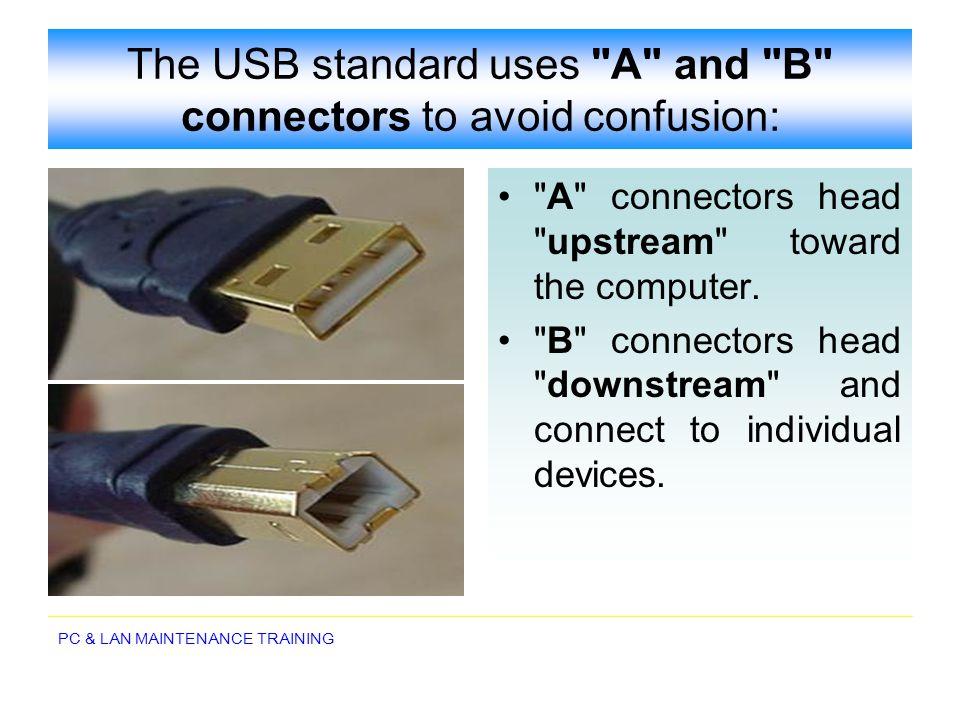 PC & LAN MAINTENANCE TRAINING The USB standard uses