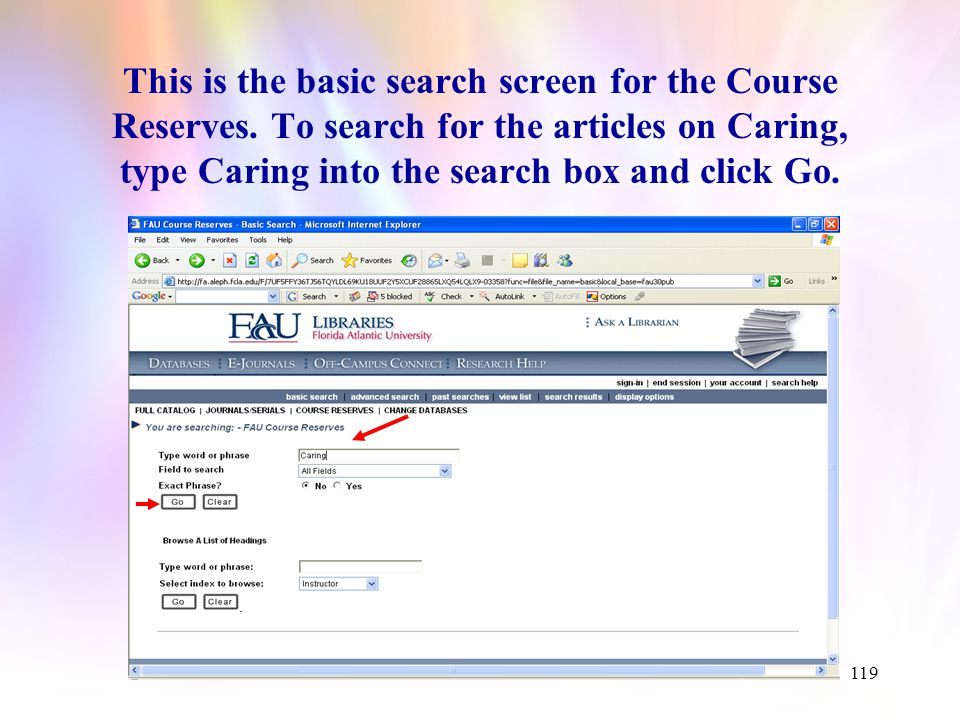 118 Articles on Caring A list of articles related to caring and the FAU College of Nursing philosophy has been collected and placed on electronic reserve.