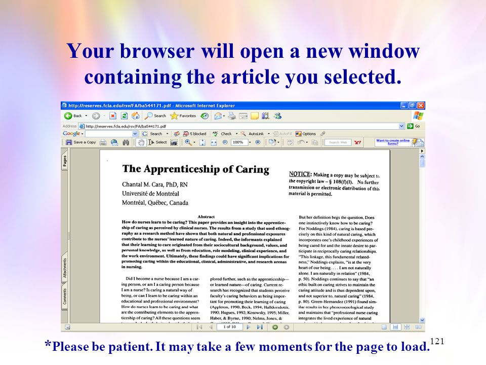 120 Identify an article of interest, then click on the hyperlink to access a full text copy of the article.