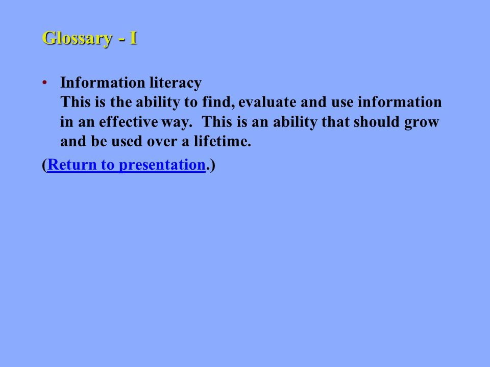 Glossary - H Hits These are the items returned to your screen once search terms have been submitted to a database search engine.