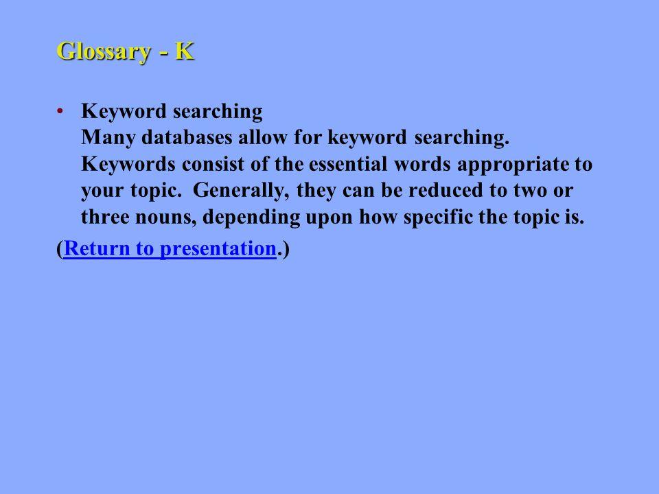 Glossary - J John D.