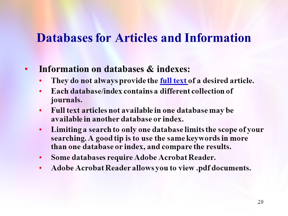 28 This is what the Database for Articles and Information page looks like.
