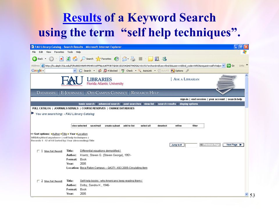 52 Insert the Keyword(s) and Click Go.