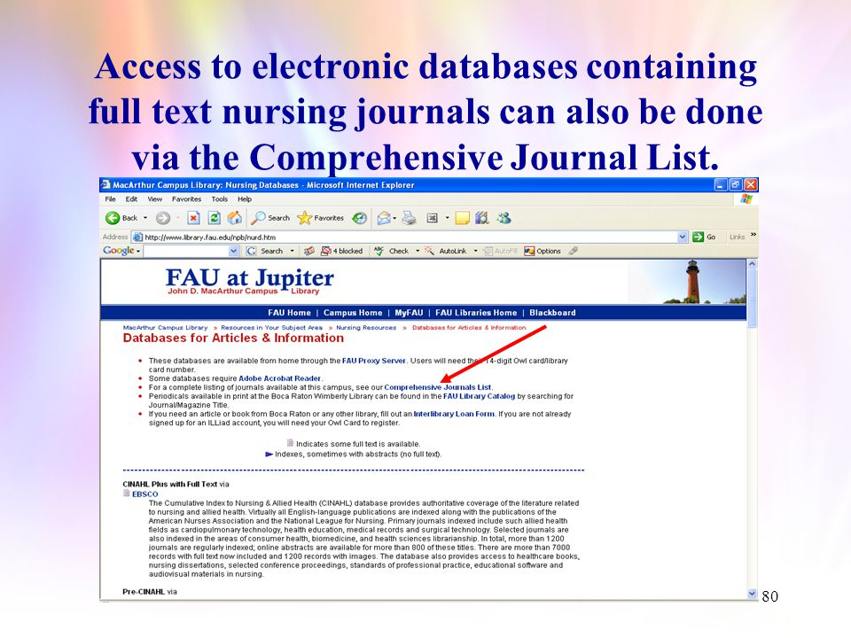 79 The record for Nursing Administration Quarterly indicates its online availability.