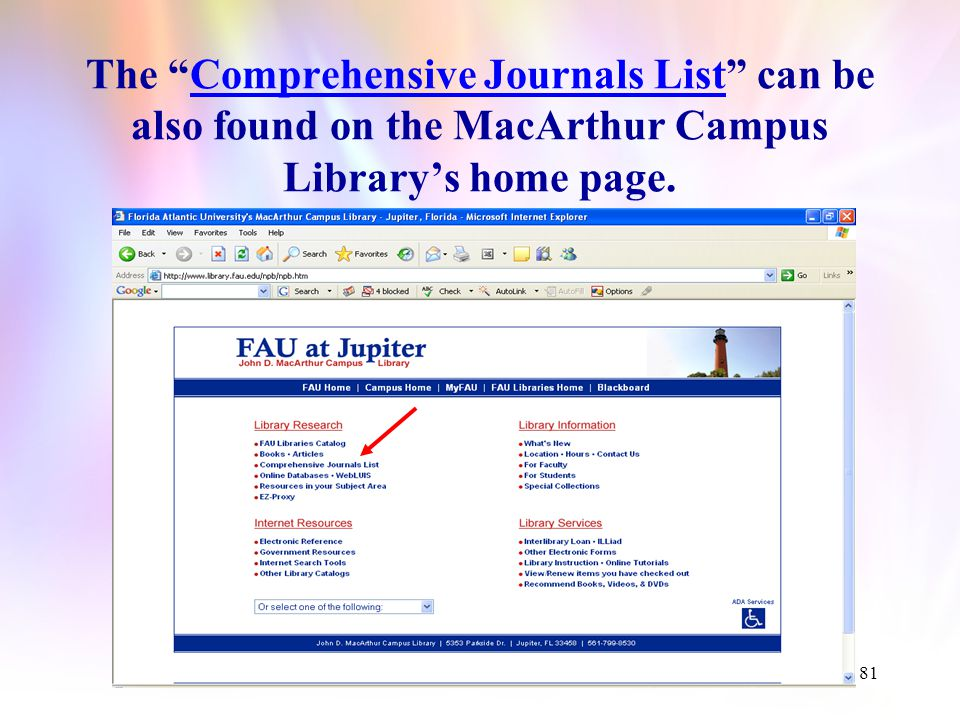 80 Access to electronic databases containing full text nursing journals can also be done via the Comprehensive Journal List.
