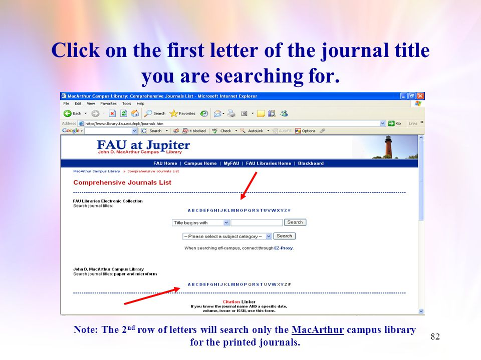 81 The Comprehensive Journals List can be also found on the MacArthur Campus Librarys home page.Comprehensive Journals List