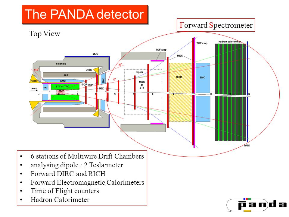 The PANDA detector 6 stations of Multiwire Drift Chambers analysing dipole : 2 Tesla·meter Forward DIRC and RICH Forward Electromagnetic Calorimeters Time of Flight counters Hadron Calorimeter Forward Spectrometer Top View