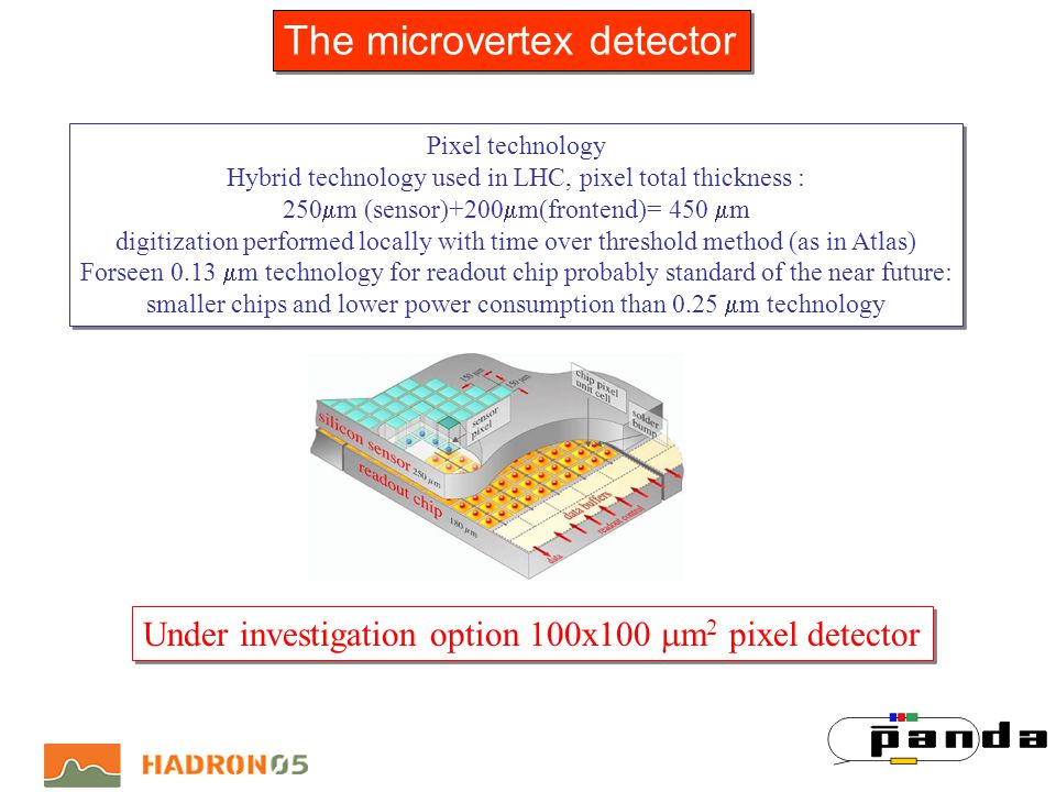 Pixel technology Hybrid technology used in LHC, pixel total thickness : 250 m (sensor)+200 m(frontend)= 450 m digitization performed locally with time over threshold method (as in Atlas) Forseen 0.13 m technology for readout chip probably standard of the near future: smaller chips and lower power consumption than 0.25 m technology Pixel technology Hybrid technology used in LHC, pixel total thickness : 250 m (sensor)+200 m(frontend)= 450 m digitization performed locally with time over threshold method (as in Atlas) Forseen 0.13 m technology for readout chip probably standard of the near future: smaller chips and lower power consumption than 0.25 m technology Under investigation option 100x100 m 2 pixel detector