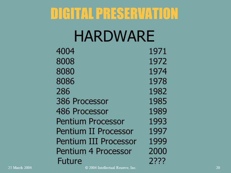4004 1971 8008 1972 8080 1974 8086 1978 286 1982 386 Processor 1985 486 Processor 1989 Pentium Processor 1993 Pentium II Processor 1997 Pentium III Pr