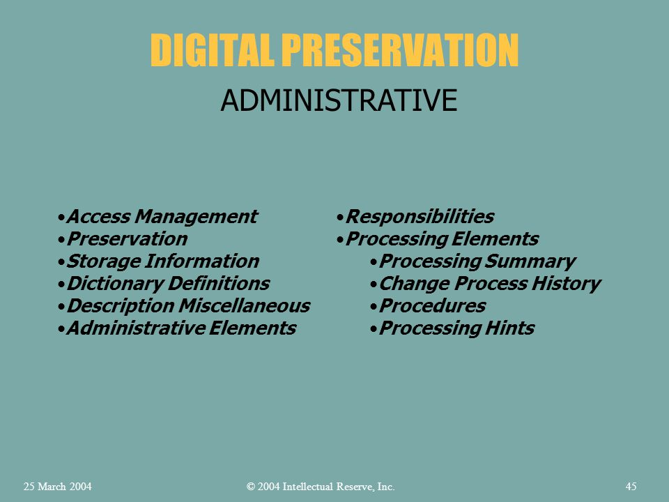 DIGITAL PRESERVATION ADMINISTRATIVE Access Management Preservation Storage Information Dictionary Definitions Description Miscellaneous Administrative Elements Responsibilities Processing Elements Processing Summary Change Process History Procedures Processing Hints © 2004 Intellectual Reserve, Inc.25 March 200445