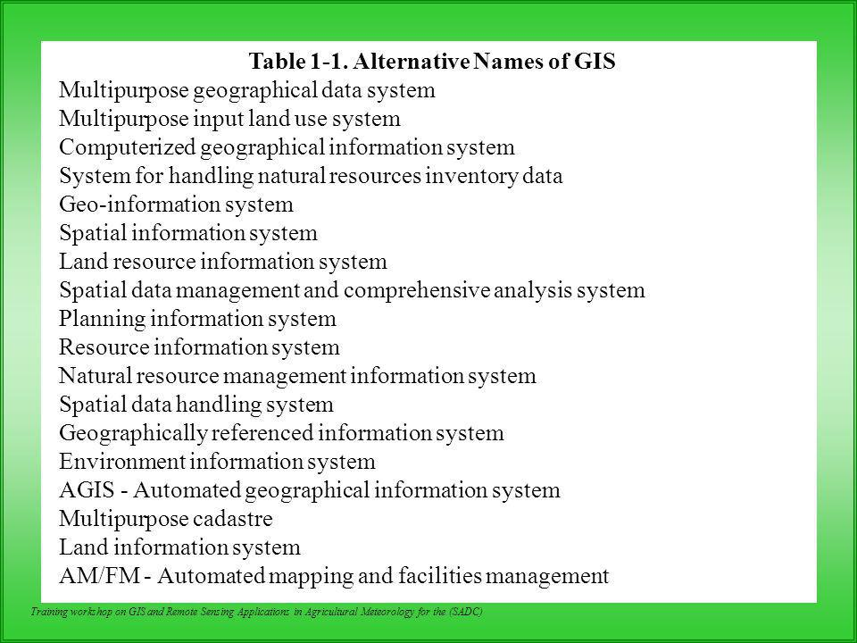 Training workshop on GIS and Remote Sensing Applications in Agricultural Meteorology for the (SADC) Relational Model Widely used in GIS Commonly used relational DBMS are as follows: –INFO - used in ARC/INFO –EMPRESS - used in System/9 –ORACLE - used in ARC/INFO, GeoVision, etc.