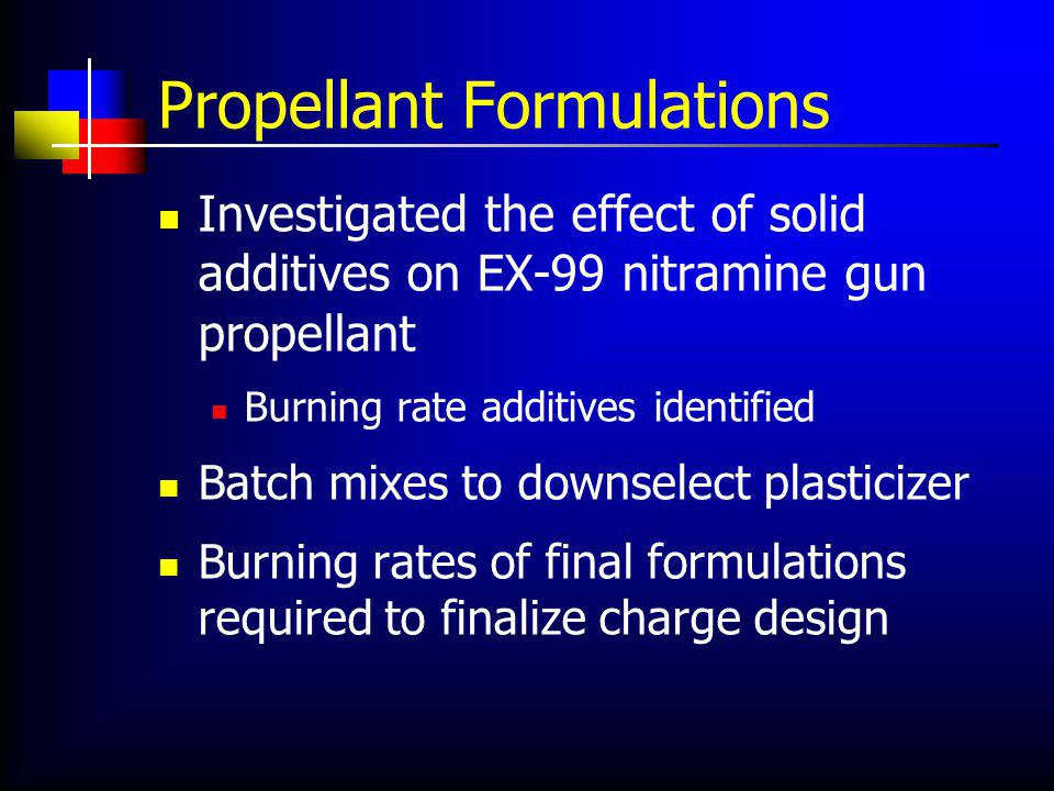Propellant Formulations Investigated the effect of solid additives on EX-99 nitramine gun propellant Burning rate additives identified Batch mixes to downselect plasticizer Burning rates of final formulations required to finalize charge design
