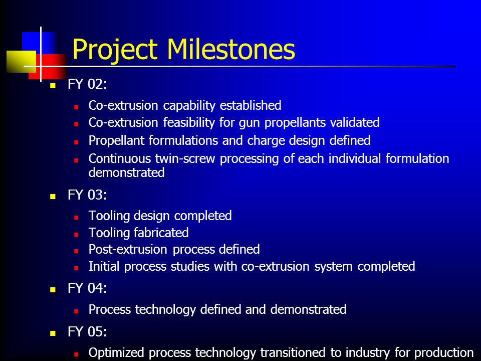 Project Milestones FY 02: Co-extrusion capability established Co-extrusion feasibility for gun propellants validated Propellant formulations and charge design defined Continuous twin-screw processing of each individual formulation demonstrated FY 03: Tooling design completed Tooling fabricated Post-extrusion process defined Initial process studies with co-extrusion system completed FY 04: Process technology defined and demonstrated FY 05: Optimized process technology transitioned to industry for production