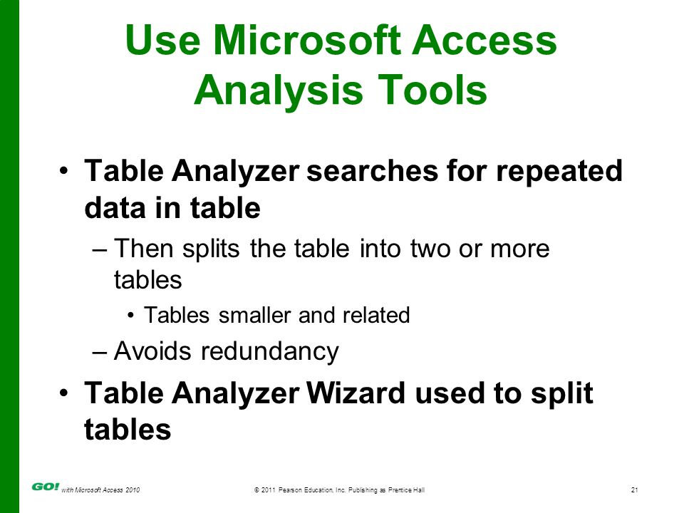 with Microsoft Access 2010© 2011 Pearson Education, Inc. Publishing as Prentice Hall21 Use Microsoft Access Analysis Tools Table Analyzer searches for