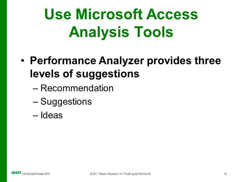 with Microsoft Access 2010© 2011 Pearson Education, Inc. Publishing as Prentice Hall24 Use Microsoft Access Analysis Tools Performance Analyzer provid