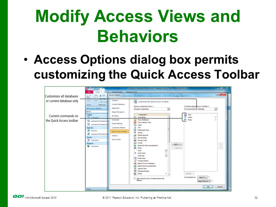 with Microsoft Access 2010© 2011 Pearson Education, Inc. Publishing as Prentice Hall32 Modify Access Views and Behaviors Access Options dialog box per